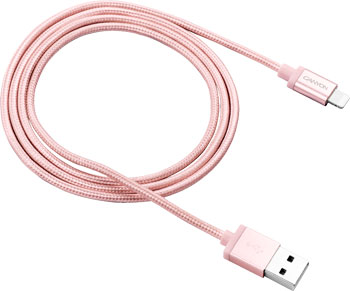 Кабель Canyon Charge & Sync MFI braided cable with metalic shell USB to lightning розовое золото