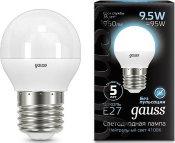 Лампа GAUSS LED Globe E 27 9.5W 4100 K 105102210 лампа gauss led globe e 27 6 5w 2700 k 105102107