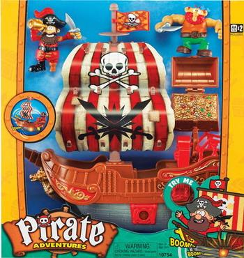Набор игровой Keenway Приключение пиратов. Битва за остров (корабль с красным парусом)