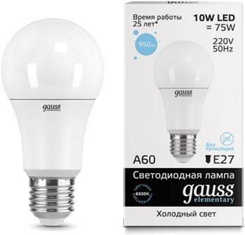 Лампа GAUSS LED Elementary A 60 10 W E 27 6500 K 23230 лампа gauss led a 60 10 w e 27 3000 k 1 10 50