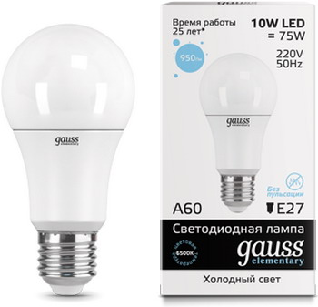 Лампа GAUSS LED Elementary A 60 10 W E 27 6500 K 23230 покрышка kenda k 1080 27 5 x 2 10 корд 60 tpi для кросс кантри