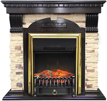 Каминокомплект Royal Flame Dublin арочный сланец с очагом Fobos FX BR (темный дуб) 56211164923894