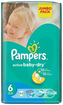 Подгузники Pampers Active Baby-Dry 15+ кг  6 размер  54 шт подгузники pampers newbaby dry mini 2 3 6 кг