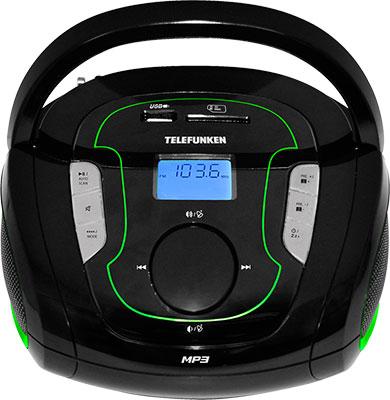 Магнитола Telefunken TF-SRP 3471 B зелёный rechargeable portable 1 3 lcd tf usb mp3 music speaker with fm radio black 3 5mm jack