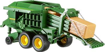Прицеп Bruder John Deere для комбикормов 02-017 машины tomy трактор john deere monster treads с большими резиновыми колесами