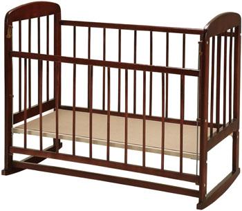 Детская кроватка Уренская мебельная фабрика Мишутка-12 колесо-качалка  автостенка  Темный