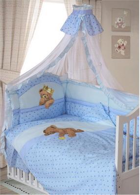 Комплект постельного белья ЗОЛОТОЙ ГУСЬ Мишка-Царь 8 пр. простыня на резинке мальчик голубой