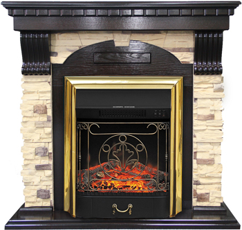 Каминокомплект Royal Flame Dublin арочный сланец с очагом Majestic FX BR (темный дуб) 56211164923896 цена