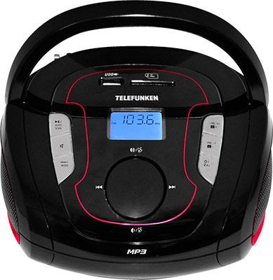 Магнитола Telefunken TF-SRP 3471 B красный rechargeable portable 1 3 lcd tf usb mp3 music speaker with fm radio black 3 5mm jack