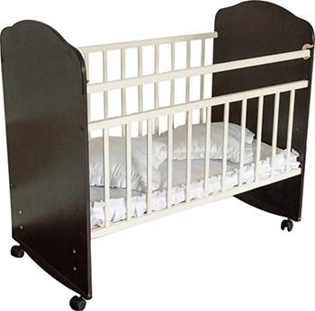 Детская кроватка Агат ''Золушка-8'' 120*60 классическая  колесо-качалка  Шоколад/слоновая кость