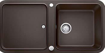 Кухонная мойка BLANCO YOVA XL 6S SILGRANIT кофе с клапаном-автоматом InFino 523603 мойка кухонная blanco elon xl 6 s шампань с клапаном автоматом 518741