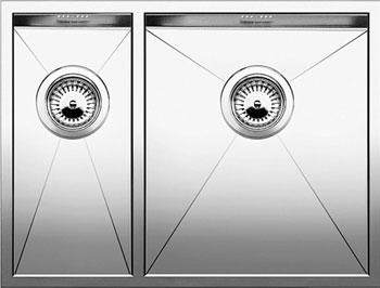 Кухонная мойка BLANCO ZEROX 340/180-U (чаша справа) нерж. сталь зеркальная полировка без клапана авт 521614 blanco zerox 450 u нерж сталь зеркальная