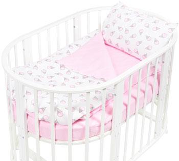 Комплект постельного белья Sweet Baby Yummy Rosa (Розовый) в круглую/овальную кровать 4 предмета