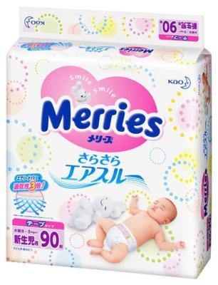 Подгузники Merries Air Through (0-5кг) 90шт