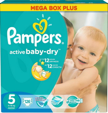 Подгузники Pampers Active Baby-Dry 5 (11-18 кг) 126 шт