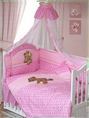 Комплект постельного белья Золотой Гусь Мишка-Царь 8 пр. простыня на резинке девочка розовый