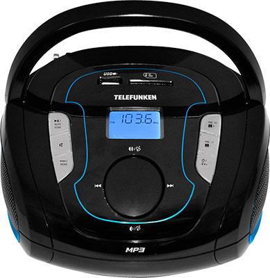 Магнитола Telefunken TF-SRP 3471 B синий rechargeable portable 1 3 lcd tf usb mp3 music speaker with fm radio black 3 5mm jack