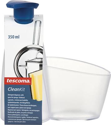 Дозатор моющего средства Tescoma CLEAN KIT с подставкой для губки 900614 заглушка для кухонной мойки tescoma clean kit универсальная цвет прозрачный диаметр 11 см