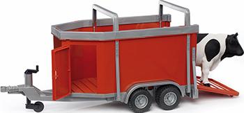 Прицеп Bruder для перевозки крупного рогатого скота с коровой 02-029 bruder фургон man для перевозки животных с коровой 02 749