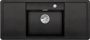 Кухонная мойка BLANCO ALAROS 6S (с черной доской) SILGRANIT антрацит с клапаном-автоматом InFino 523614 blanco enos 40s silgranit puradur антрацит