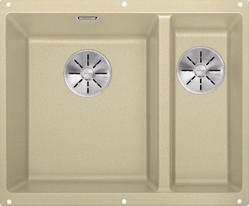 Кухонная мойка BLANCO SUBLINE 340/160-U SILGRANIT шампань (чаша слева) с отв.арм. InFino 523554 кухонная мойка blanco subline 340 160 u silgranit жемчужный чаша слева с отв арм infino 523551