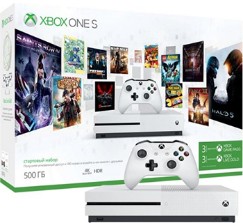 все цены на Игровая приставка Microsoft One S 500 ГБ + игровой абонемент на 3 месяца + Xbox LIVE: карта подписки 3 месяца (ZQ9-00352) онлайн
