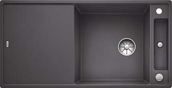 Кухонная мойка BLANCO AXIA III XL 6 S InFino Silgranit темная скала ( столик ясень) 523501 кухонная мойка blanco axia iii xl 6 s infino silgranit мускат столик ясень 523508
