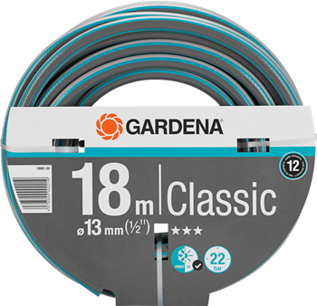 Шланг садовый Gardena Classic 13 мм (1/2'') 18 м 18001-20 комплект соединительный gardena classic 1 2 1 5 м