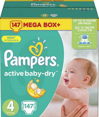 Подгузники Pampers Active Baby-Dry Maxi (8-14 кг) Упаковка 147 greenty подгузники greenty 5 13 кг 32 шт