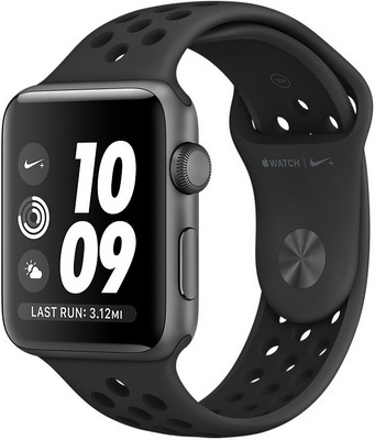 Часы Apple Watch Nike+ GPS Series 3 38 mm Space Grey Aluminium Anthracite/Black Sport Band (MQKY2RU/A) cкакалка nike weighted rope 2 0 ns grey black bright citrus