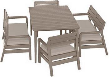 Комплект мебели Allibert Delano Set with Lima table 160 капучино 17205371 комплект мебели allibert corona set with cushion box капучино 17198017
