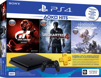 Игровая приставка Sony PlayStation 4 500Гб Black +HZD/GTS/UC/PS+3M (CUH-2208 A) игровая приставка sony playstation 4 1tb call of duty ww ii