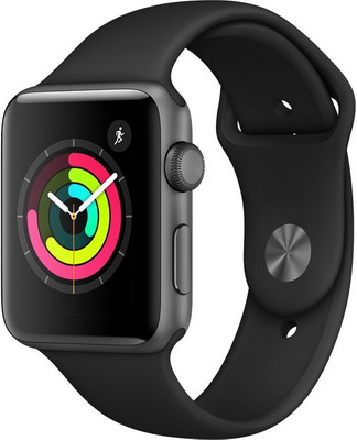 Часы Apple Watch Series 3 GPS 42 mm Space Grey Aluminium Case with Black Sport Band (MTF 32 RU/A) replacement band for garmin forerunner 910xt fr910xt gps running sports watch backup watchband watch band original band