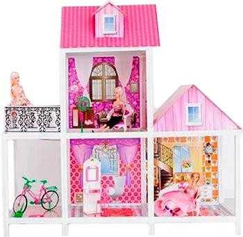 2-этажный кукольный дом Paremo PPCD 116-01 (3 комнаты мебель 3 куклы велосипед)