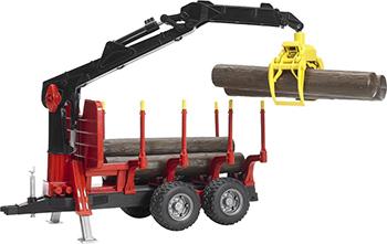Прицеп Bruder для перевозки леса с манипулятором и брёвнами 02-252 bruder фургон man для перевозки животных с коровой 02 749