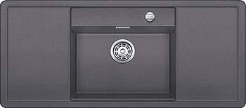 Кухонная мойка BLANCO ALAROS 6S (с черной доской) SILGRANIT темная скала с клапаном-автоматом InFino 523615 кухонная мойка blanco elon xl 6s silgranit темная скала с клапаном автоматом infino 524835