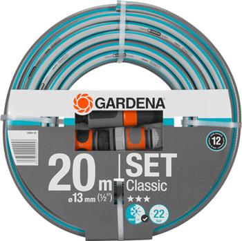 Шланг садовый Gardena Classic 13 мм (1/2'')  20 м: комплект 18004-20 шланг садовый truper трехслойный с полипропиленовым коннектором 1 2 20 м