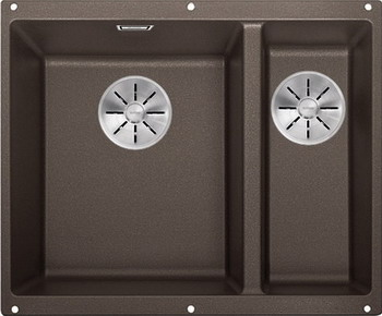 Кухонная мойка BLANCO SUBLINE 340/160-U SILGRANIT кофе (чаша слева) с отв.арм. InFino 523557 кухонная мойка blanco subline 340 160 u silgranit жемчужный чаша слева с отв арм infino 523551