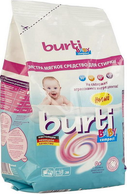 Стиральный порошок концентрированный Burti Compact Baby 0.9кг као антибактериальный стиральный порошок со смягчающими компонентами attack 900 г