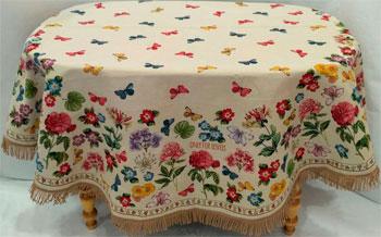 Скатерть Le Gobelin Бабочки и розы круглая диаметр 190 7169 niklen скатерть круглая белая acdchs9