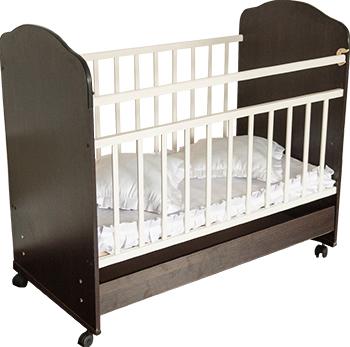 Детская кроватка Агат ''Золушка-9'' 120*60 классическая  колесо-качалка  ящик  Шоколад/слоновая кость