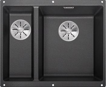 Кухонная мойка BLANCO SUBLINE 340/160-U SILGRANIT антрацит (чаша справа) с отв.арм. InFino 523558 кухонная мойка blanco subline 340 160 u silgranit жемчужный чаша слева с отв арм infino 523551