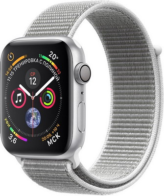 Часы Apple Watch Series 4 GPS 44 mm Silver Aluminium Case with Seashell Sport Loop (MU6C2RU/A) умные часы apple watch series 3 38mm gold with pink sand sport band mqkw2ru a