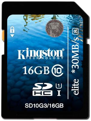 Карта памяти Kingston SDHC 16 Gb Class 10 (SD 10 G3/16 GB) kingston sda10 64gb sdhc 64гб class 10