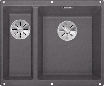Кухонная мойка BLANCO SUBLINE 340/160-U SILGRANIT темная скала (чаша справа) с отв.арм. InFino 523559 кухонная мойка blanco subline 340 160 u silgranit жасмин чаша справа