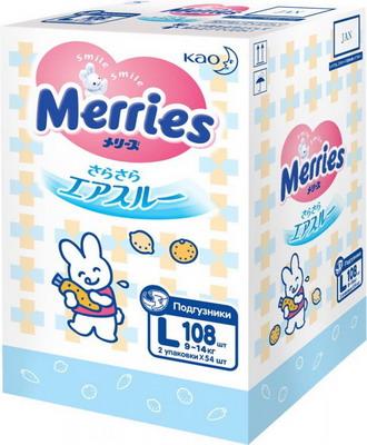 Подгузники Merries L 9-14 кг 108 шт