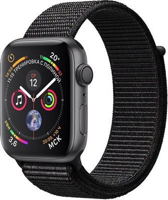 Часы Apple Watch Series 4 GPS 44 mm Space Grey Aluminium Case with Black Sport Loop (MU6E2RU/A) 1 4 oled gsm gps personal position tracker wrist watch black