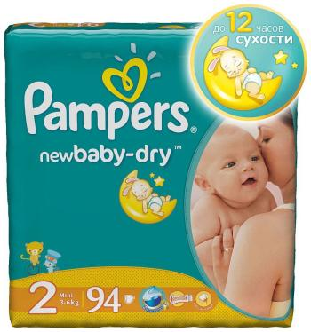 Подгузники Pampers New Baby-Dry Mini 3-6 кг 94 шт