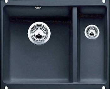 Кухонная мойка BLANCO 523747 SUBLINE 350/150-U керамика черный PuraPlus с отв.арм. InFino мойка subline 350 150 u cer basalt 516976 blanco