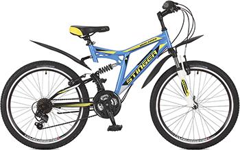 Велосипед Stinger 24'' Highlander 100 V 14'' синий 24 SFV.HILAND1.14 BL7 набор bosch дрель аккумуляторная gsb 18 v ec 0 601 9e9 100 адаптер gaa 18v 24